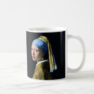 Jan Vermeer Girl With A Pearl Earring Baroque Art Basic White Mug