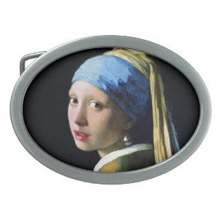 Jan Vermeer Girl With A Pearl Earring Baroque Art Oval Belt Buckles
