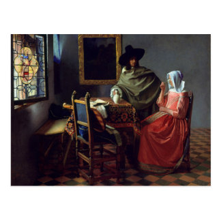 Jan Vermeer, The Wine Glass Postcard