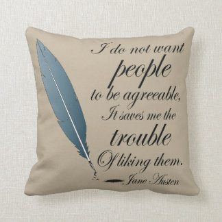 Jane Austen Agreeable People Quote Cushion