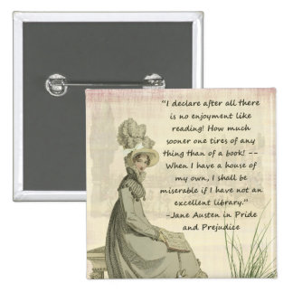 Jane Austen Book Lovers 15 Cm Square Badge