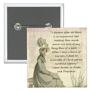 Jane Austen Book Lovers Pinback Buttons