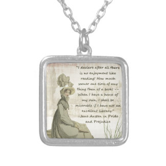 Jane Austen Book Lovers Square Pendant Necklace