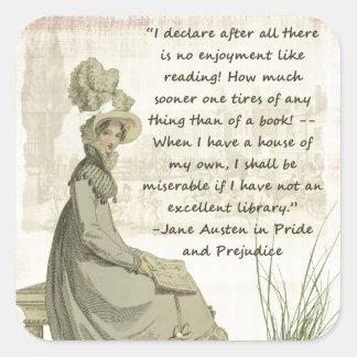 Jane Austen Book Lovers Square Sticker