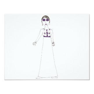 """Jane Austen button eye Purple 4.25"""" X 5.5"""" Invitation Card"""