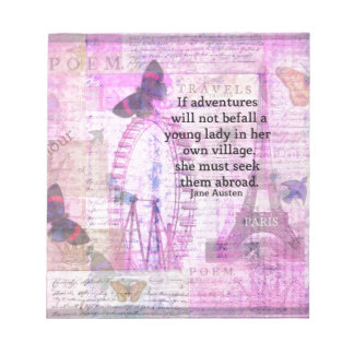 Jane Austen cute  travel quote with art Notepad