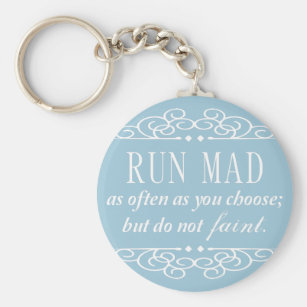 jane austen do not faint keychain pale blue