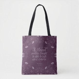 Jane Austen Emma Book Purple Floral Love Quote Tote Bag