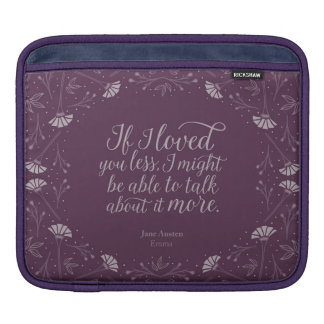 Jane Austen Emma Purple Floral Love Quote iPad Sleeve