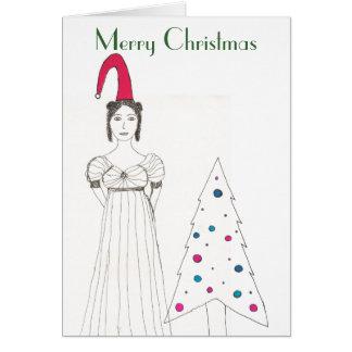 Jane Austen girl, Christmas floppy hat, Christm... Card
