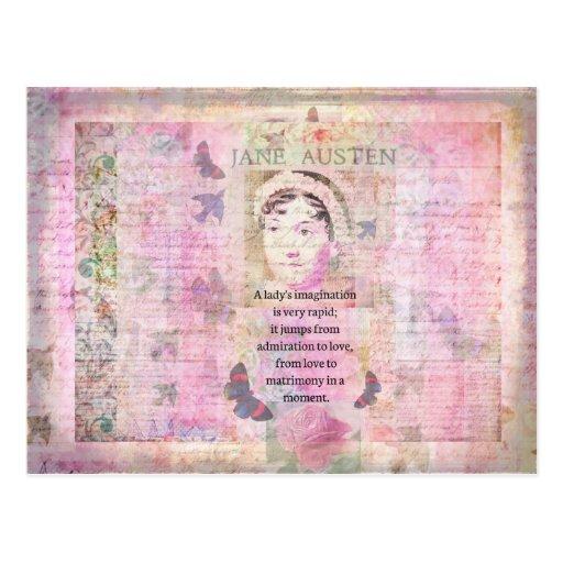 Jane Austen humorous quote regarding love Post Cards