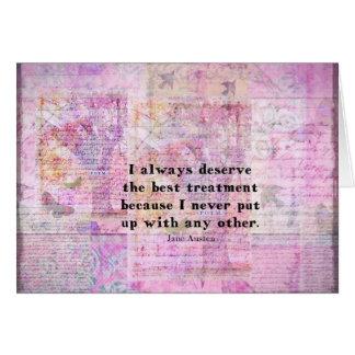 Jane Austen humorous quote with cheerful art image Card
