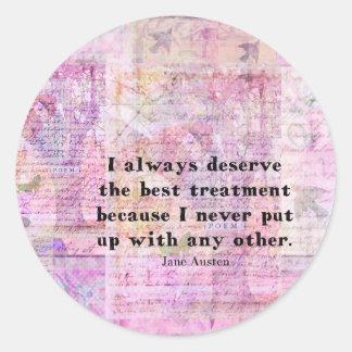 Jane Austen humorous quote with cheerful art image Classic Round Sticker