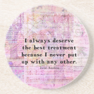 Jane Austen humorous quote with cheerful art image Drink Coaster