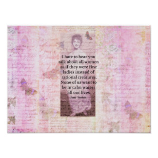 Jane Austen Inspirational quote empowerment women Print