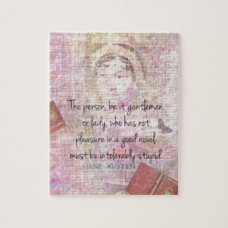 Jane Austen  Intolerably Stupid quote humor Jigsaw Puzzle