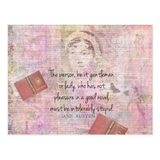 Jane Austen  Intolerably Stupid quote humor Postcard