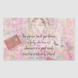 Jane Austen  Intolerably Stupid quote humor Rectangular Sticker