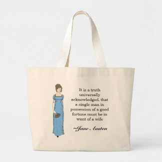 Jane Austen Lady Large Tote Bag