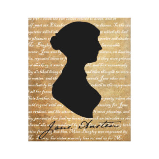 Jane Austen Page Silhouette Gallery Wrapped Canvas