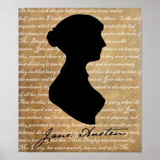 Jane Austen Page Silhouette Poster