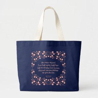 Jane Austen Persuasion Floral Love Letter Quote Large Tote Bag