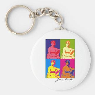 Jane Austen Pop Art Basic Round Button Key Ring