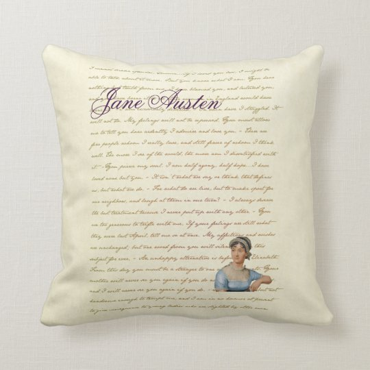 Jane Austen Portrait and Quote PIllow P&P S&S