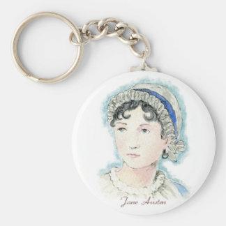Jane Austen Portrait by Alice Flynn Basic Round Button Key Ring