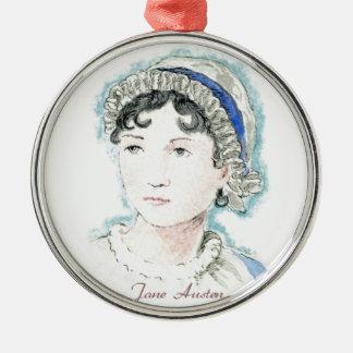 Jane Austen Portrait by Alice Flynn Silver-Colored Round Decoration