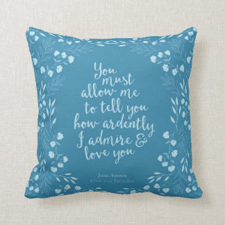Jane Austen Pride and Prejudice Floral Love Quote Throw Pillow