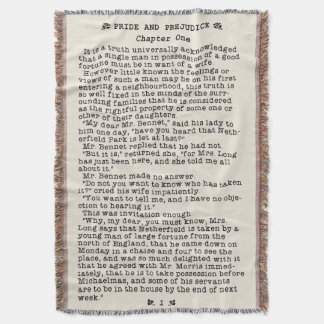 Jane Austen Pride and Prejudice Literature Quote Throw Blanket