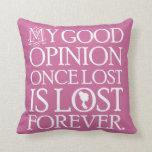 Jane Austen Pride and Prejudice Throw Pillow