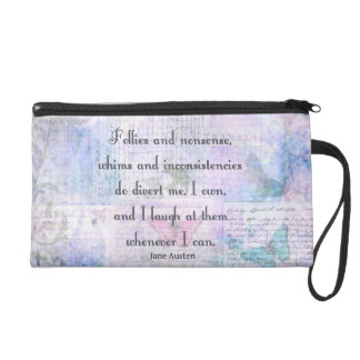 Jane Austen Pride and Prejudice whimsical quote Wristlet Clutches