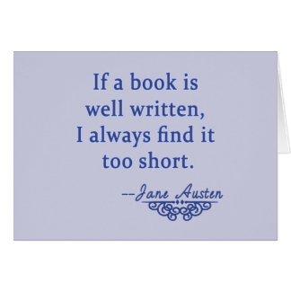 Jane Austen Quote about Books Card