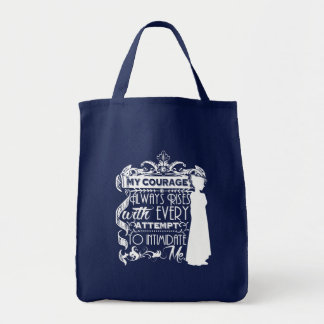 Jane Austen Quote My Courage Always Rises P&P PPZ Tote Bag
