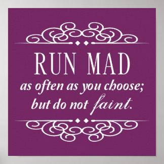 Jane Austen: Run Mad Poster Print (Purple)