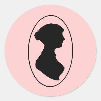 Jane Austen s Silhouette Round Stickers