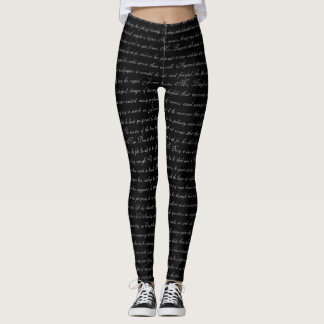 Jane Austen Text Black and White Leggings