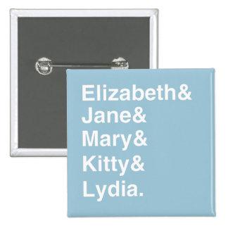 Jane Austen Typography Name List Button (Blue)