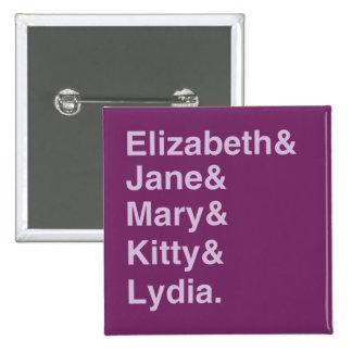 Jane Austen Typography Name List Button (Purple)
