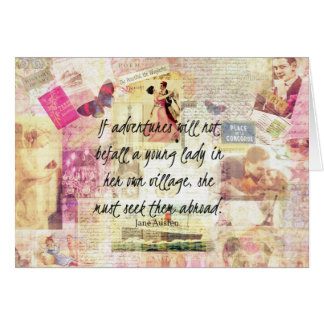 Jane Austen whimsical cute travel quote Card