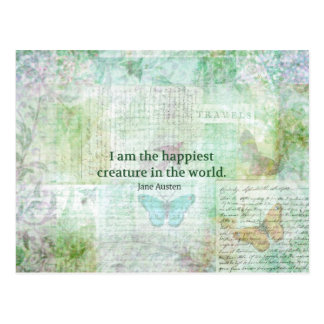 Jane Austen whimsical quote Pride and Prejudice Postcard