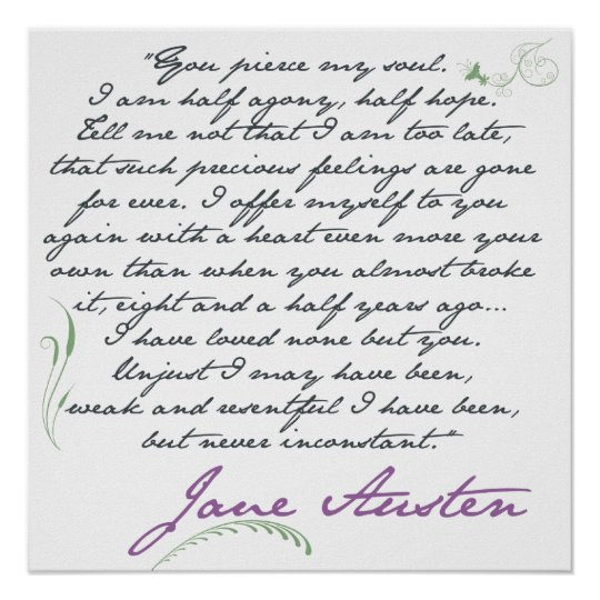 Jane Austen's Persuasion Quote #1 Poster