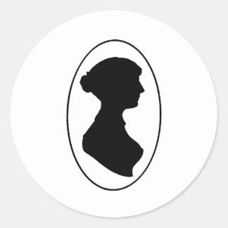 Jane Austen's Silhouette Round Sticker