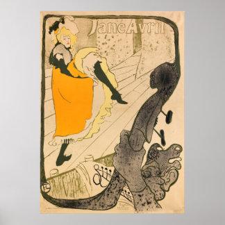 Jane Avril Vintage Print by Toulouse-Lautrec Poster