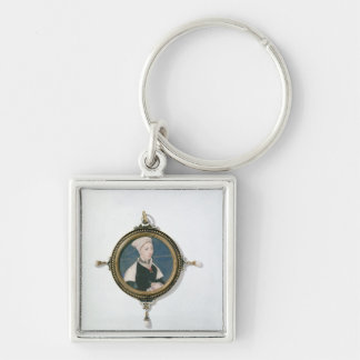 Jane Small Silver-Colored Square Key Ring