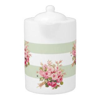 Jane's Rose Bouquet basil stripe large teapot