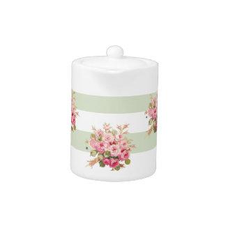 Jane's Rose Bouquet basil stripe small teapot