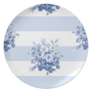 Jane's Rose Bouquet blueberry stripe plate